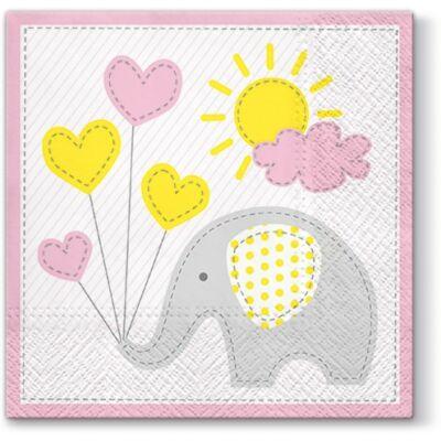 Pl Serwetki aranyos elefánt világos rózsaszín